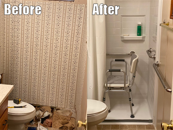 Accessible Shower before and after
